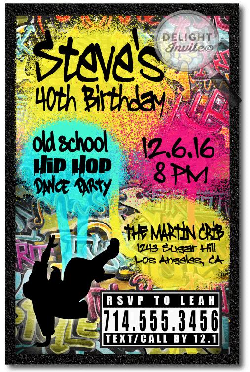 90s Party Invitation Wording Unique 90s Hip Hop Graffiti Birthday Invitations