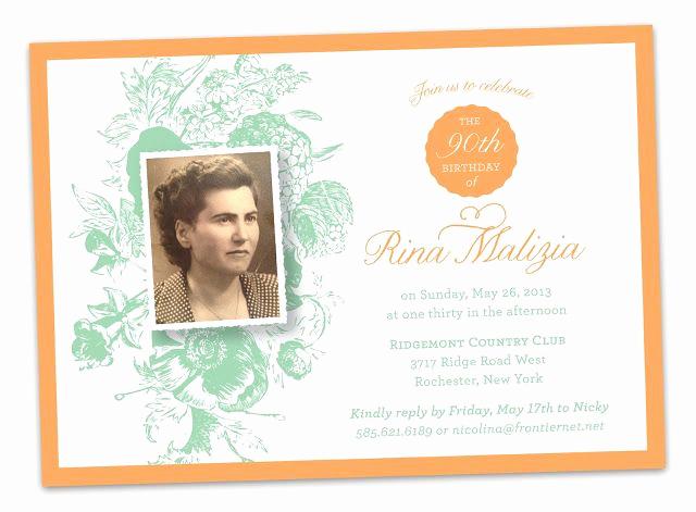 90th Birthday Invitation Ideas Elegant 90th Birthday Party Invitations orange Green Old Vintage