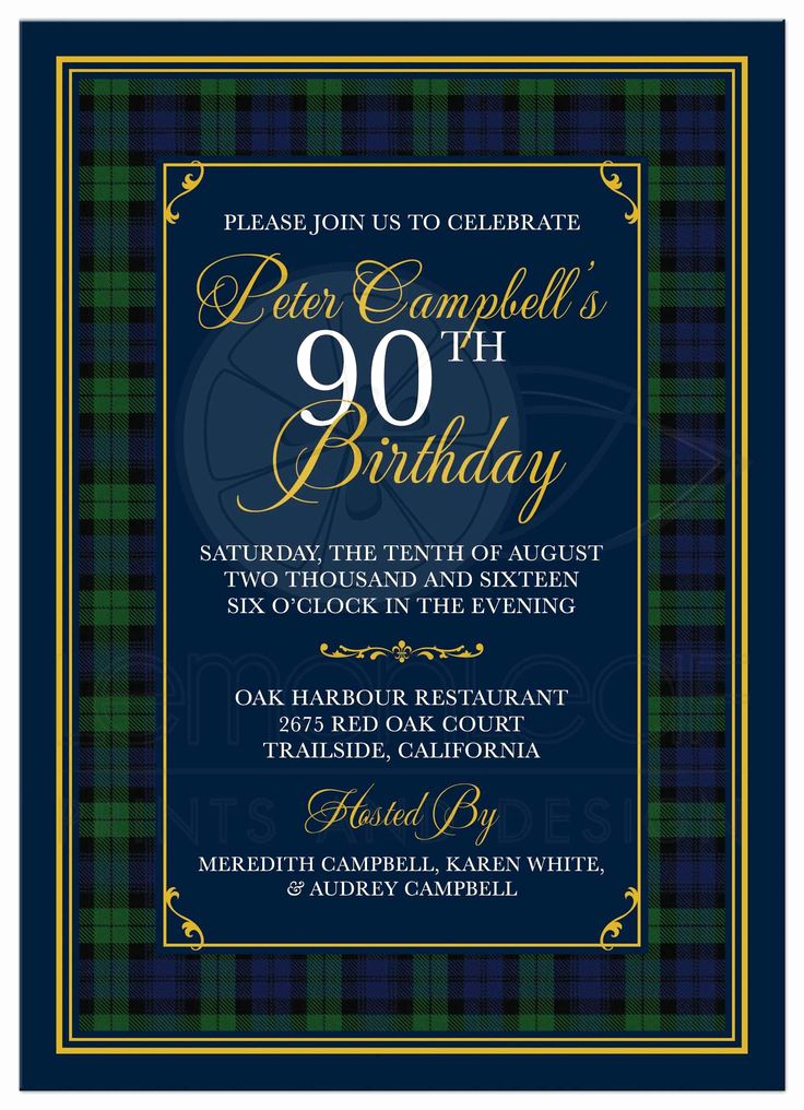 90th Birthday Invitation Ideas Elegant Black Watch or Campbell Tartan 90th Birthday Invitation