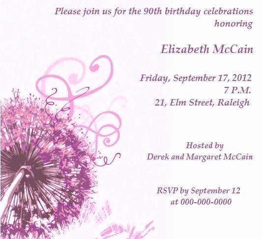 90th Birthday Invitation Ideas Inspirational Graceful 90th Birthday Party Invitations