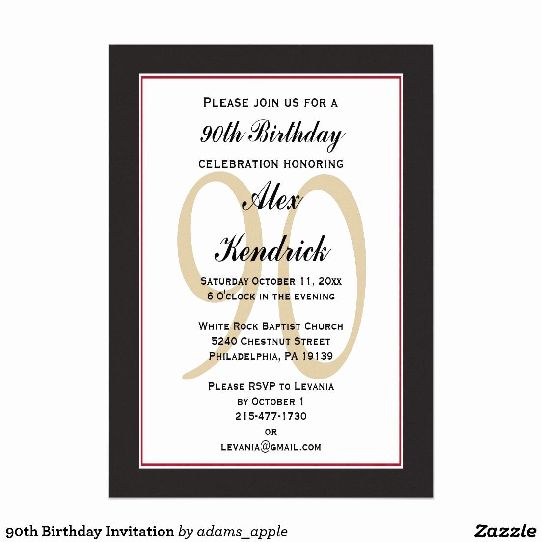 90th Birthday Invitation Ideas Luxury 90th Birthday Invitation Zazzle In 2019