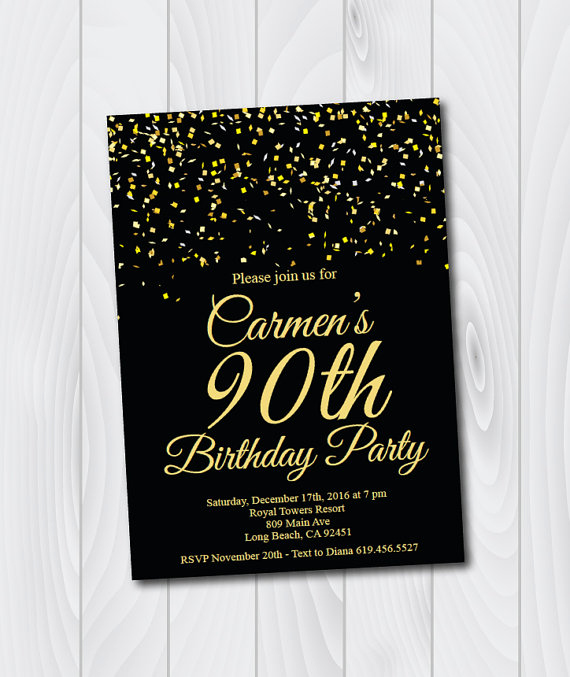 90th Birthday Invitation Templates Awesome 90th Birthday Invitation Printable Gold & Black Birthday