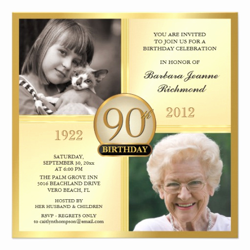 90th Birthday Invitation Templates Awesome Gold 90th Birthday Invitations then & now 2 S 5 25