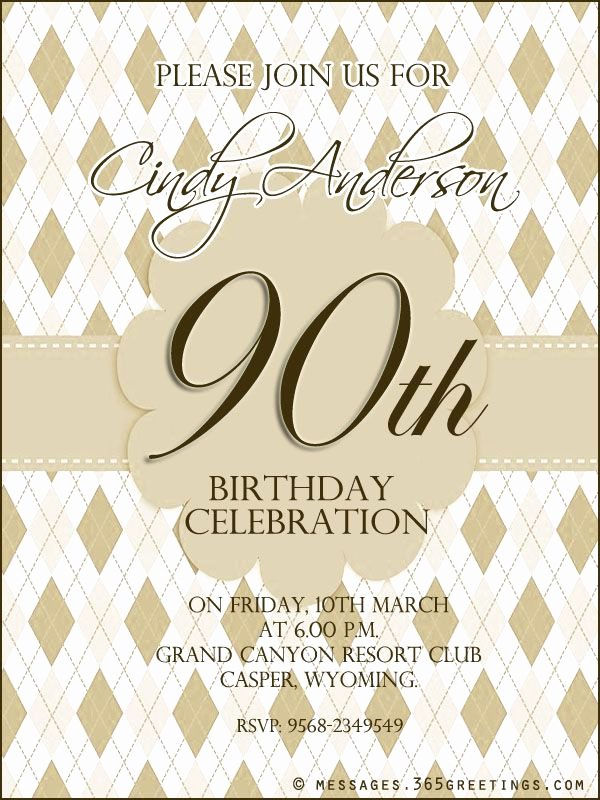 90th Birthday Invitation Templates Beautiful 90th Birthday Invitation Wording Party for Mom