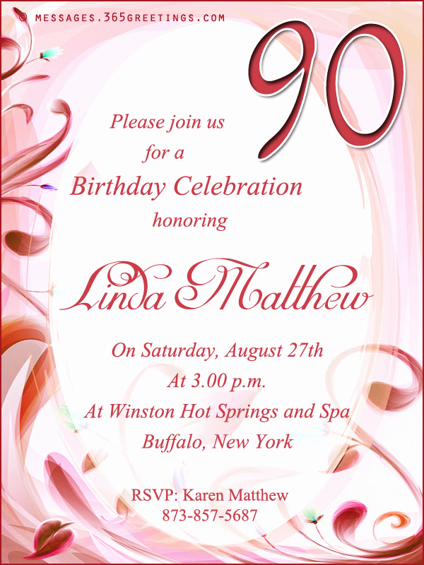 90th Birthday Invitation Templates Beautiful 90th Birthday Invitation Wordings 365greetings