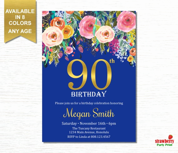 90th Birthday Invitation Templates Beautiful 90th Birthday Invitations for Women Surprise Birthday