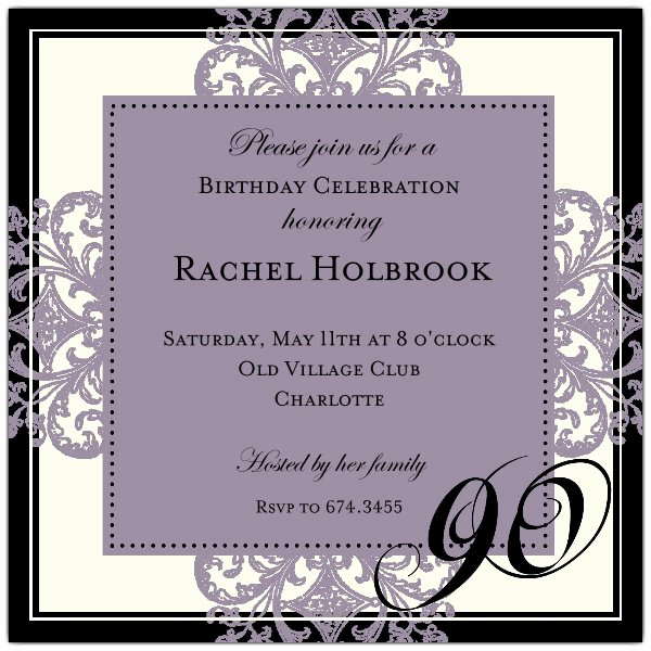 90th Birthday Invitation Templates Elegant Decorative Square Border Eggplant 90th Birthday