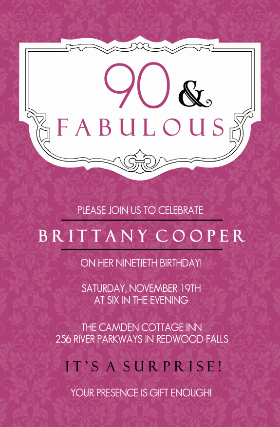 90th Birthday Invitation Templates Fresh 90th Birthday Invitation Wording 365greetings
