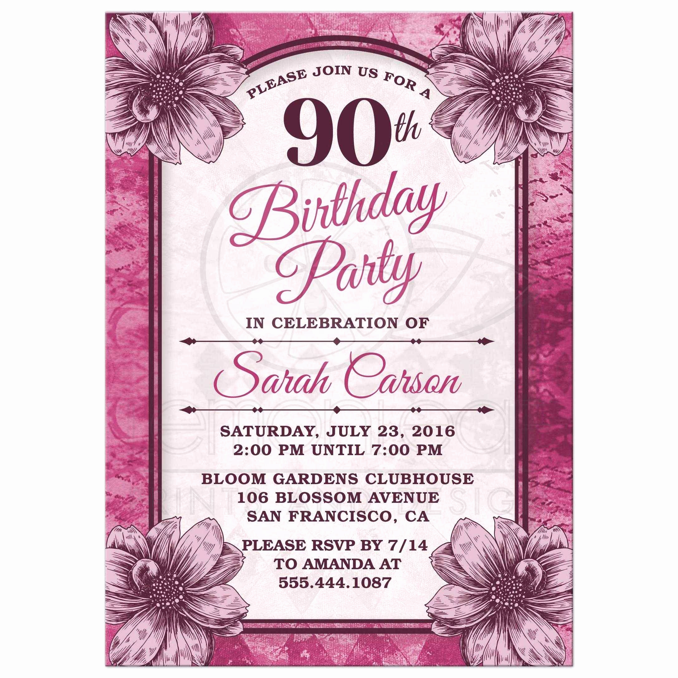 90th Birthday Invitation Templates Fresh 90th Birthday Party Invitations Templates Free