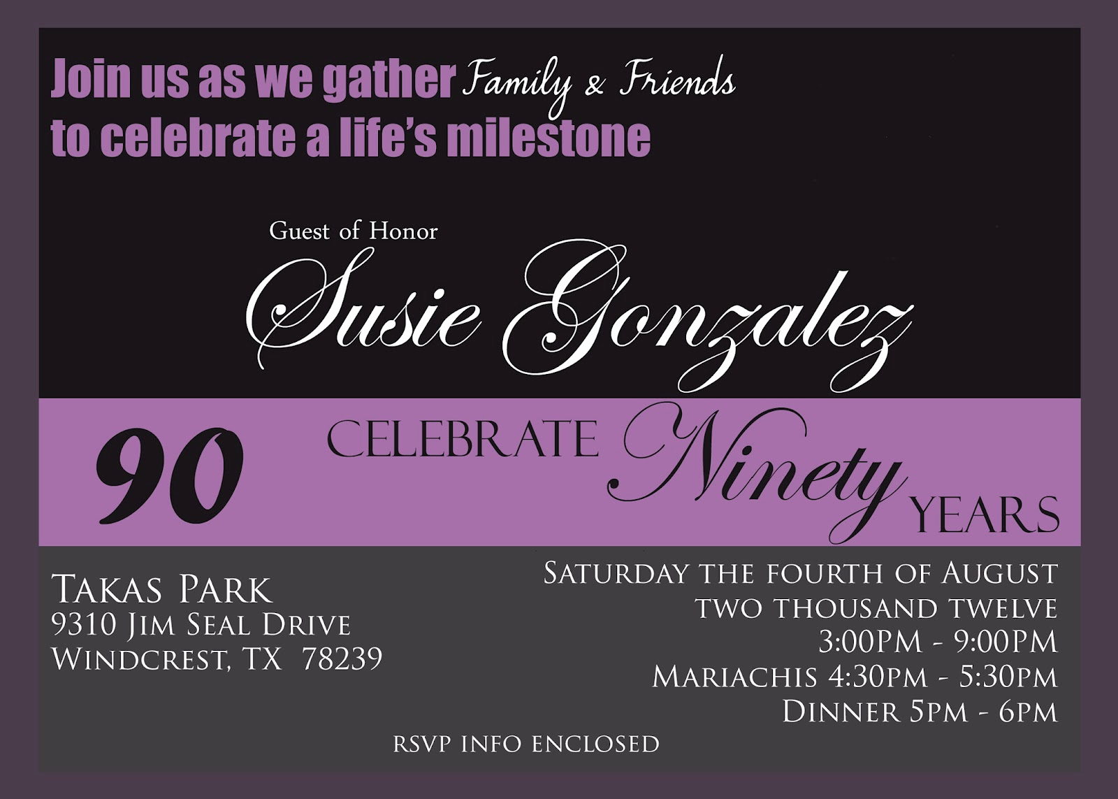 90th Birthday Invitation Templates Inspirational Creations 90th Birthday Celebration Invitaion