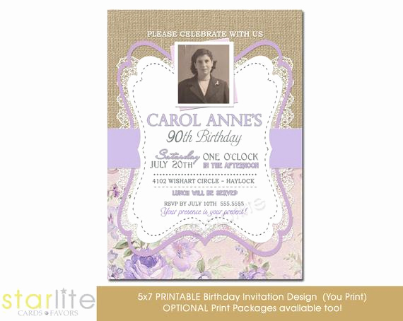 90th Birthday Invitation Templates Lovely 90th Birthday Invitation Photo Birthday Invitation by Starwedd