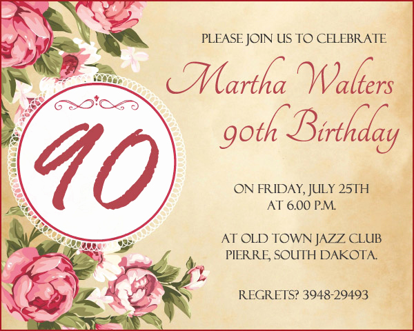 90th Birthday Invitation Templates Lovely 90th Birthday Invitation Wording 365greetings