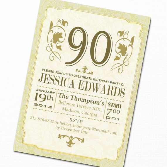 90th Birthday Invitation Templates Lovely Pinterest Discover and Save Creative Ideas