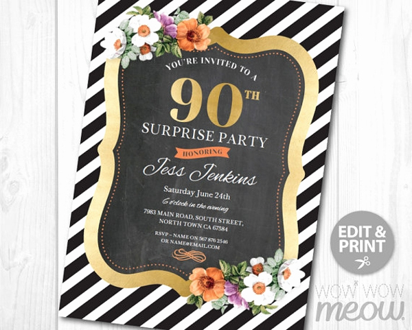 90th Birthday Invitation Templates New 11 90th Birthday Invitations Designs & Templates Psd