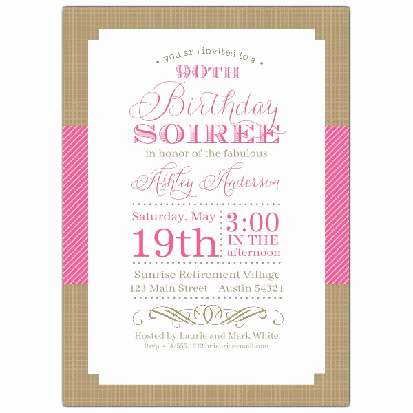 90th Birthday Invitation Templates Unique Nashville Pink 90th Birthday Invitations