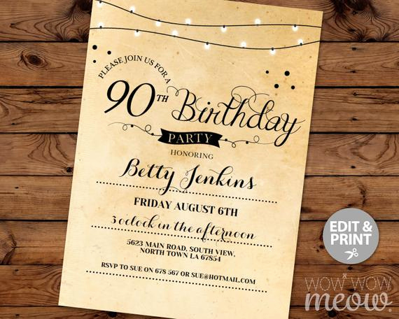 90th Birthday Invitation Wording Beautiful 90th Birthday Invitation Elegant Ninety Invitations Party