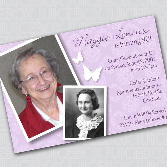 90th Birthday Invitation Wording Beautiful Birthday Invitation Digital Card 90th Birthday