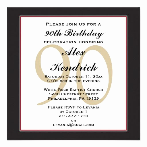 90th Birthday Invitation Wording Best Of 90th Birthday Invitation Invitations