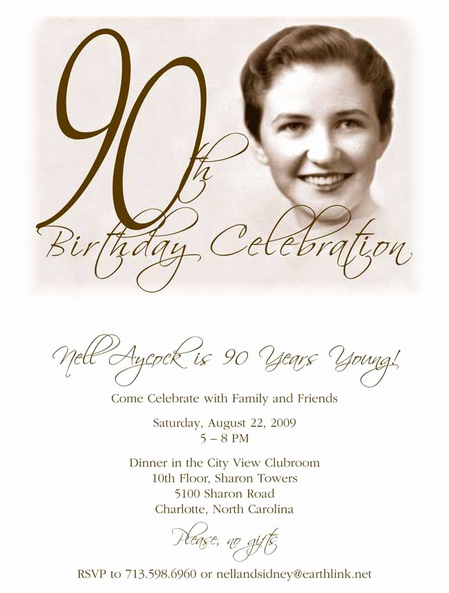 90th Birthday Invitation Wording Elegant 90th Birthday Invitation Wording
