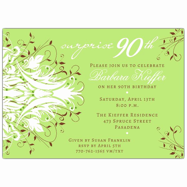 90th Birthday Invitation Wording Elegant andromeda Green Surprise 90th Birthday Invitations