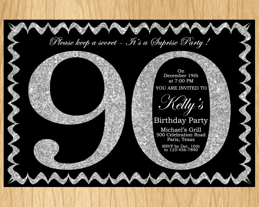 90th Birthday Invitation Wording Lovely 90th Birthday Invitation Silver Glitter Birthday Party Invite