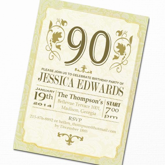 90th Birthday Invitation Wording Lovely Items Similar to 90th Birthday Invitation Diy Printable