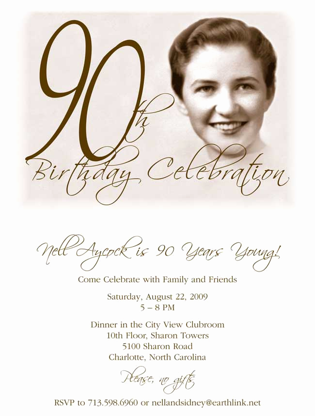 90th birthday invitation examples