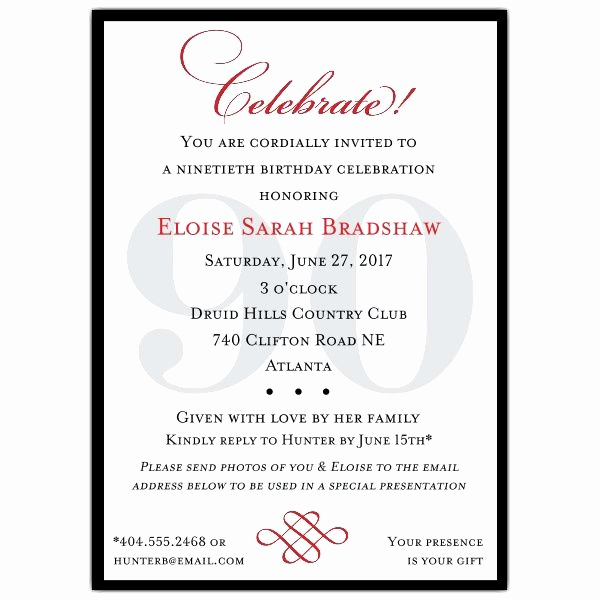 90th Birthday Invitation Wording Luxury Classic 90th Birthday Invitations Linda Bean