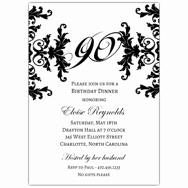 90th Birthday Invitation Wording New Black and White Decorative Framed 90th Birthday