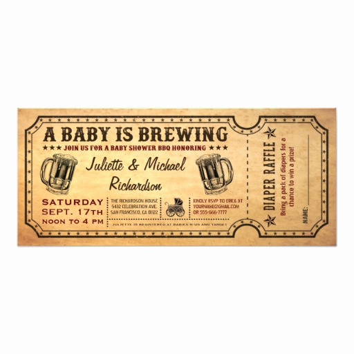A Baby is Brewing Invitation Fresh A Baby is Brewing Baby Shower Ticket Invitations