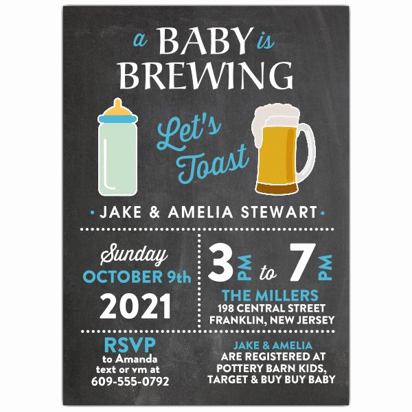 A Baby is Brewing Invitation Fresh Baby Brewing Boy Baby Shower Invitations