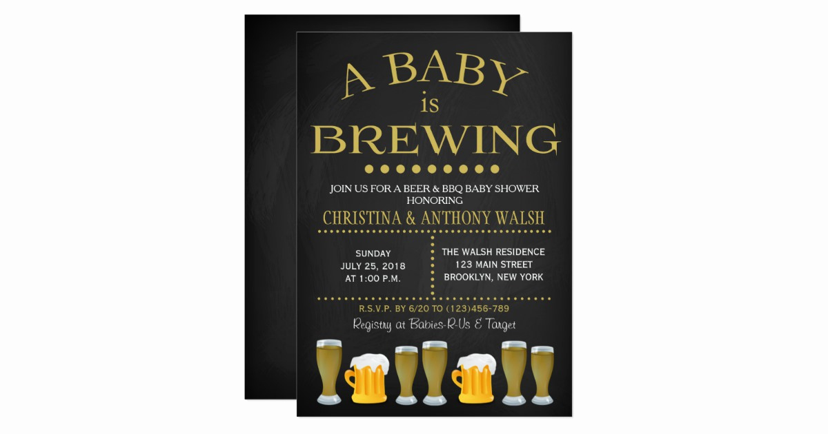 A Baby is Brewing Invitation Lovely A Baby is Brewing Baby Shower Chalk Bbq Invitation