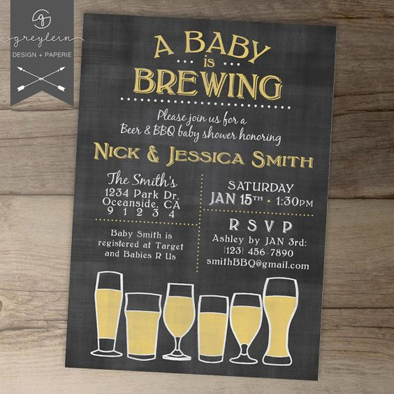 A Baby is Brewing Invitation Lovely Baby is Brewing Babyq Baby Shower Invitation Guy