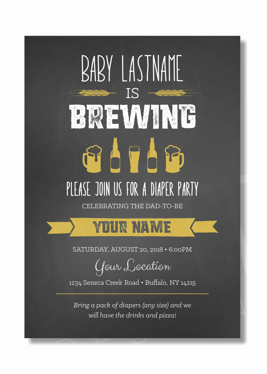 A Baby is Brewing Invitation New Diaper Party Invite Baby is Brewing Invite Beer Diaper Party
