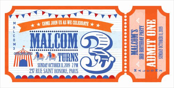 Admission Ticket Invitation Template Free Awesome 37 Carnival Birthday Invitation Templates Free Sample