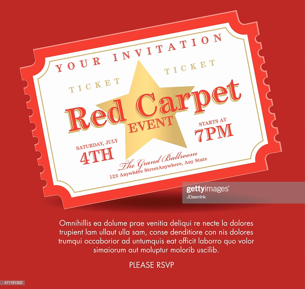 Admission Ticket Invitation Template Free Awesome Vintage Style Gold Red Carpet event Ticket Invitation