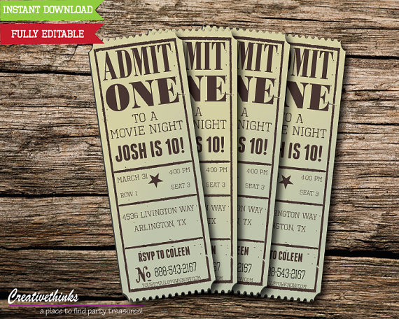 Admission Ticket Invitation Template Free Beautiful Editable Vintage Movie Ticket Invitation Digital File