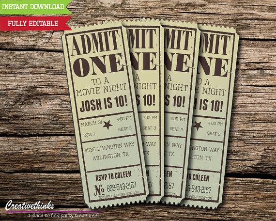 Admission Ticket Invitation Template Free Beautiful Editable Vintage Movie Ticket Invitation Digital File