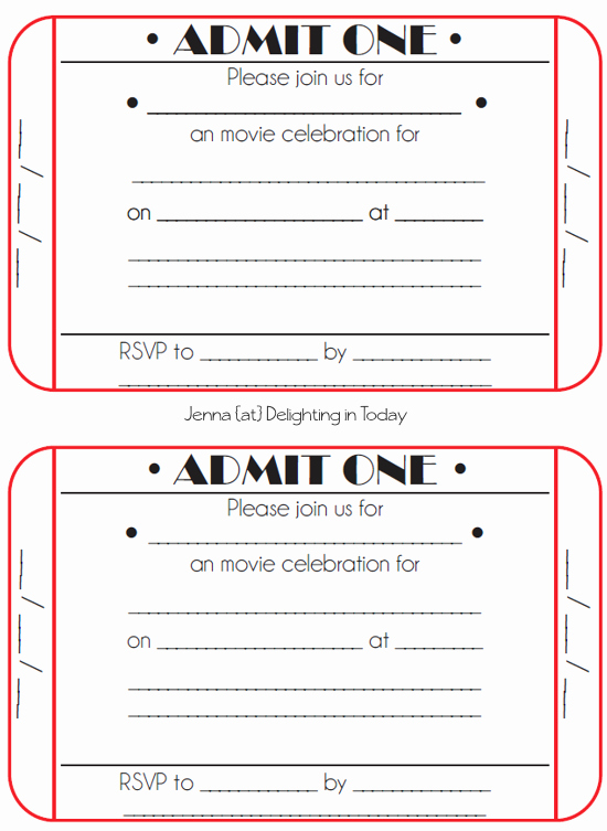 Admission Ticket Invitation Template Free Beautiful Movie Ticket Birthday Invitations Free Printable
