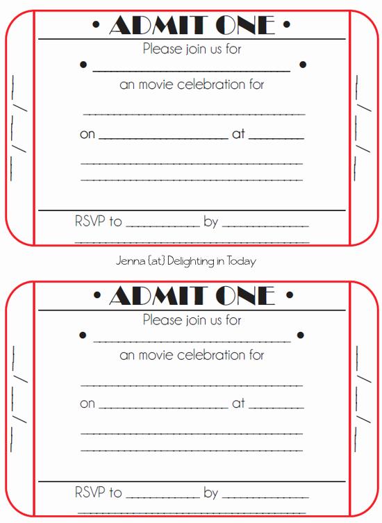 Admission Ticket Invitation Template Free Beautiful Movie Ticket Birthday Invitations Free Printable