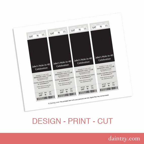 Admission Ticket Invitation Template Free Best Of event Ticket Invitation Template Printable Diy Make