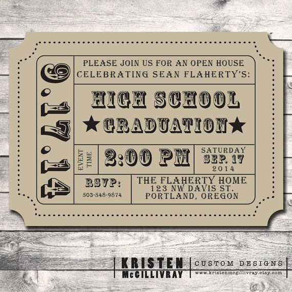Admission Ticket Invitation Template Free Best Of Graduation Party Party Invitation Diy Digital File