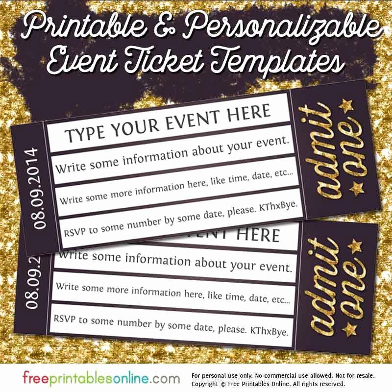 Admission Ticket Invitation Template Free Elegant Admit E Gold event Ticket Template Free Printables