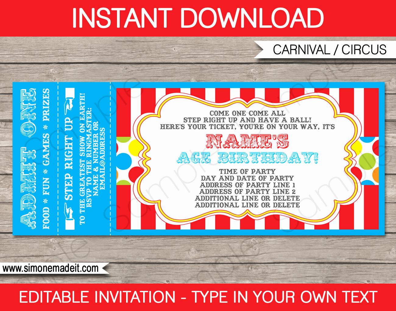 Admission Ticket Invitation Template Free Elegant Carnival Party Ticket Invitation Template