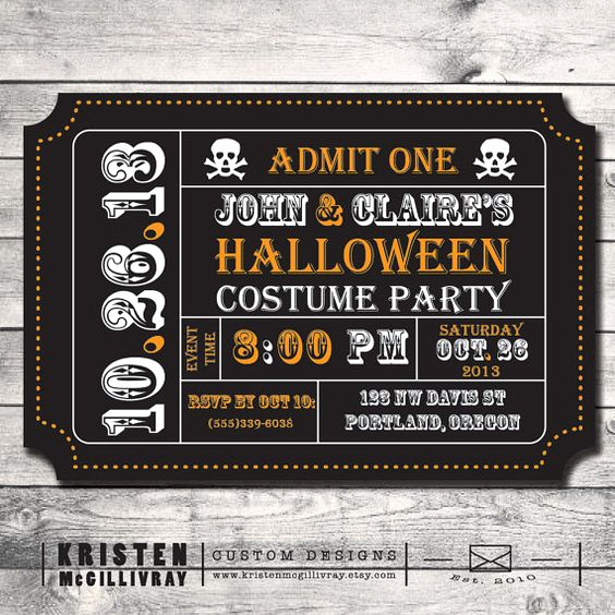 Admission Ticket Invitation Template Free Inspirational Halloween Party Invitation Ticket Invitation Invitation