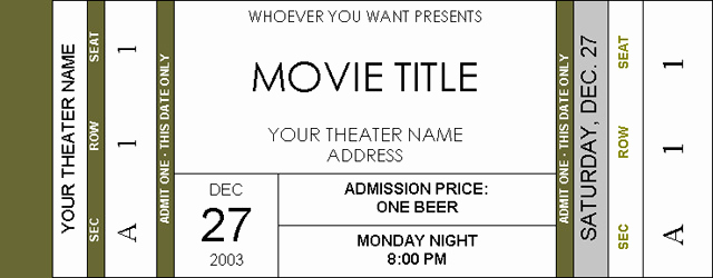 Admission Ticket Invitation Template Free Lovely Movie Ticket Invitations Page 2 Avs forum