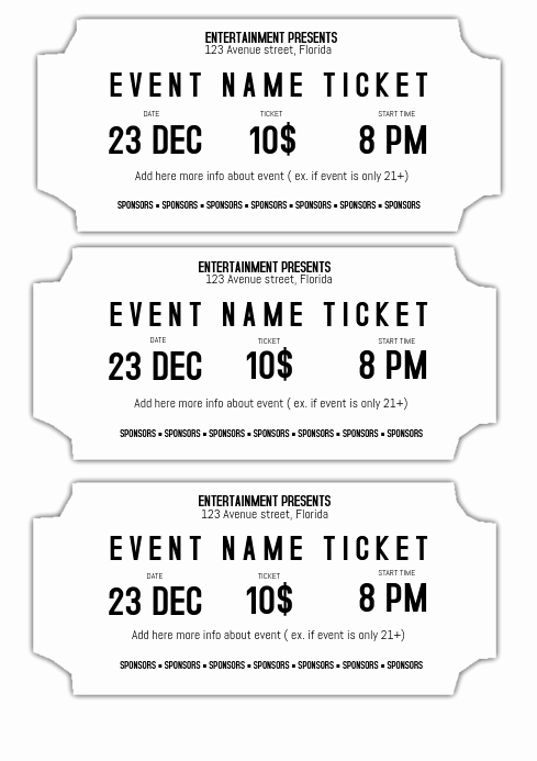 Admission Ticket Invitation Template Free New event Ticket Template Black and White Printable