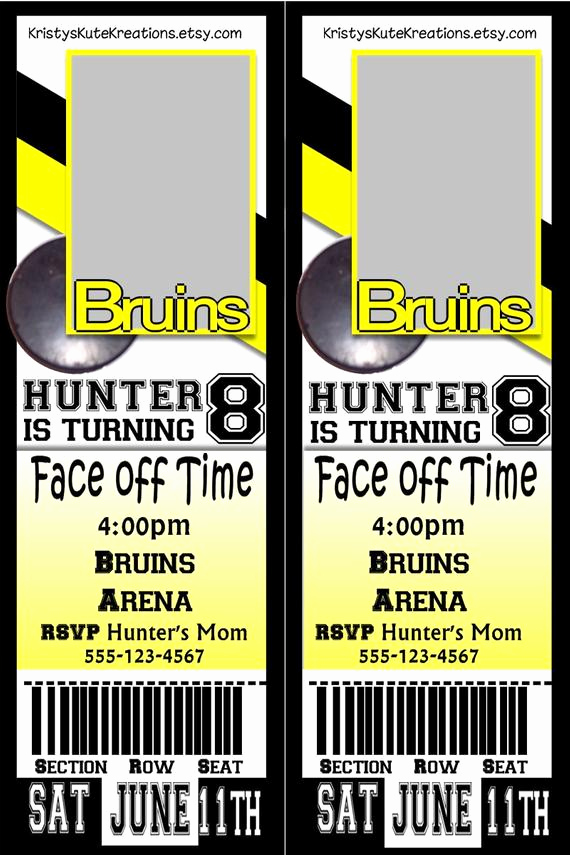 Admit One Ticket Invitation Awesome Digital Sports Hockey Admit One Ticket Birthday Invitation