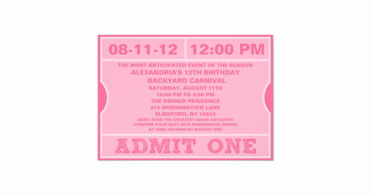 Admit One Ticket Invitation Awesome Pink Admit E Ticket Invitation Birthday Party