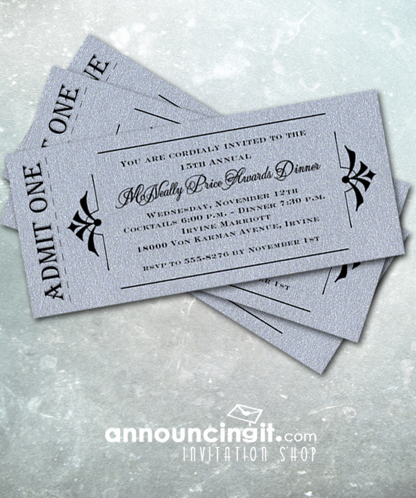 Admit One Ticket Invitation Beautiful Admit E Shimmery Silver Ticket Invitations